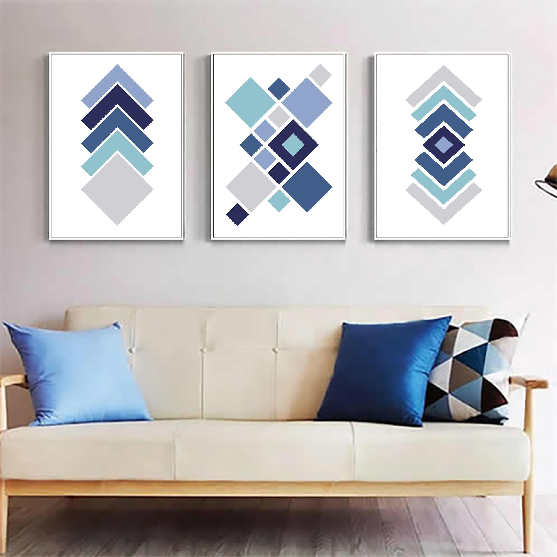 Set Of 3 Downloadable Prints Geometric Wall Art Scandinavian Print Navy Blue And Gray Art Https Et Geometric Wall Art Diy Navy Blue Wall Art Grey Wall Art