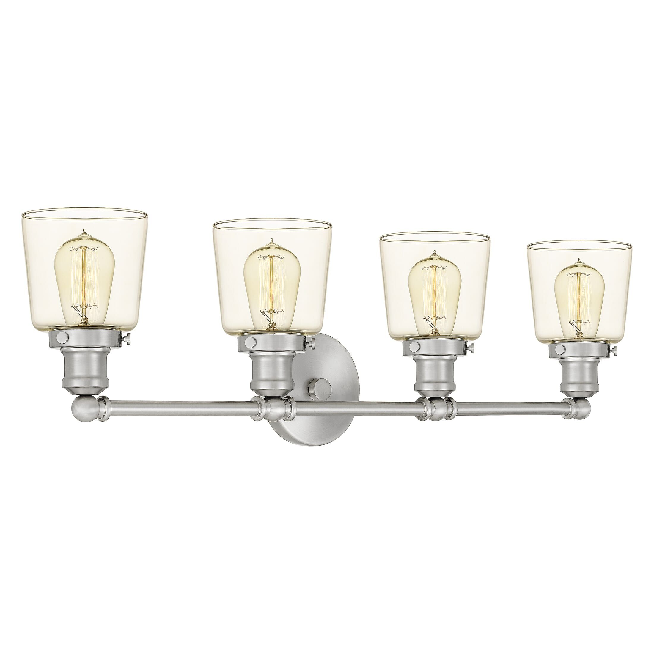 "Photo of Quoizel Union 4-Light 9 ""bathroom vanity lamp made of brushed nickel"