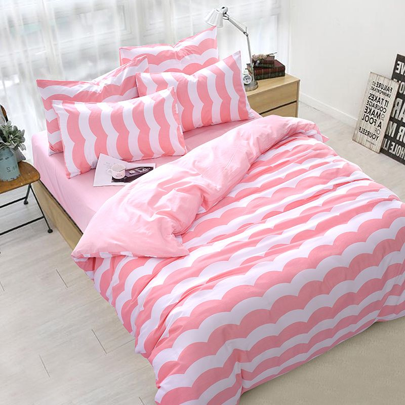 Pink White Wave Stripe Print Bed Cover, Aliexpress White Queen Bed Sheets