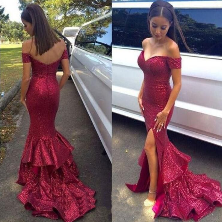Red sequin dress for prom