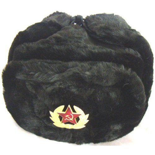 Hat Russian Soviet Army Black KGB   Fur Military Cossack Ushanka   Size L Russian  winter hat - Ushanka. Military style with Soviet Red Star badge. a76a12646e99