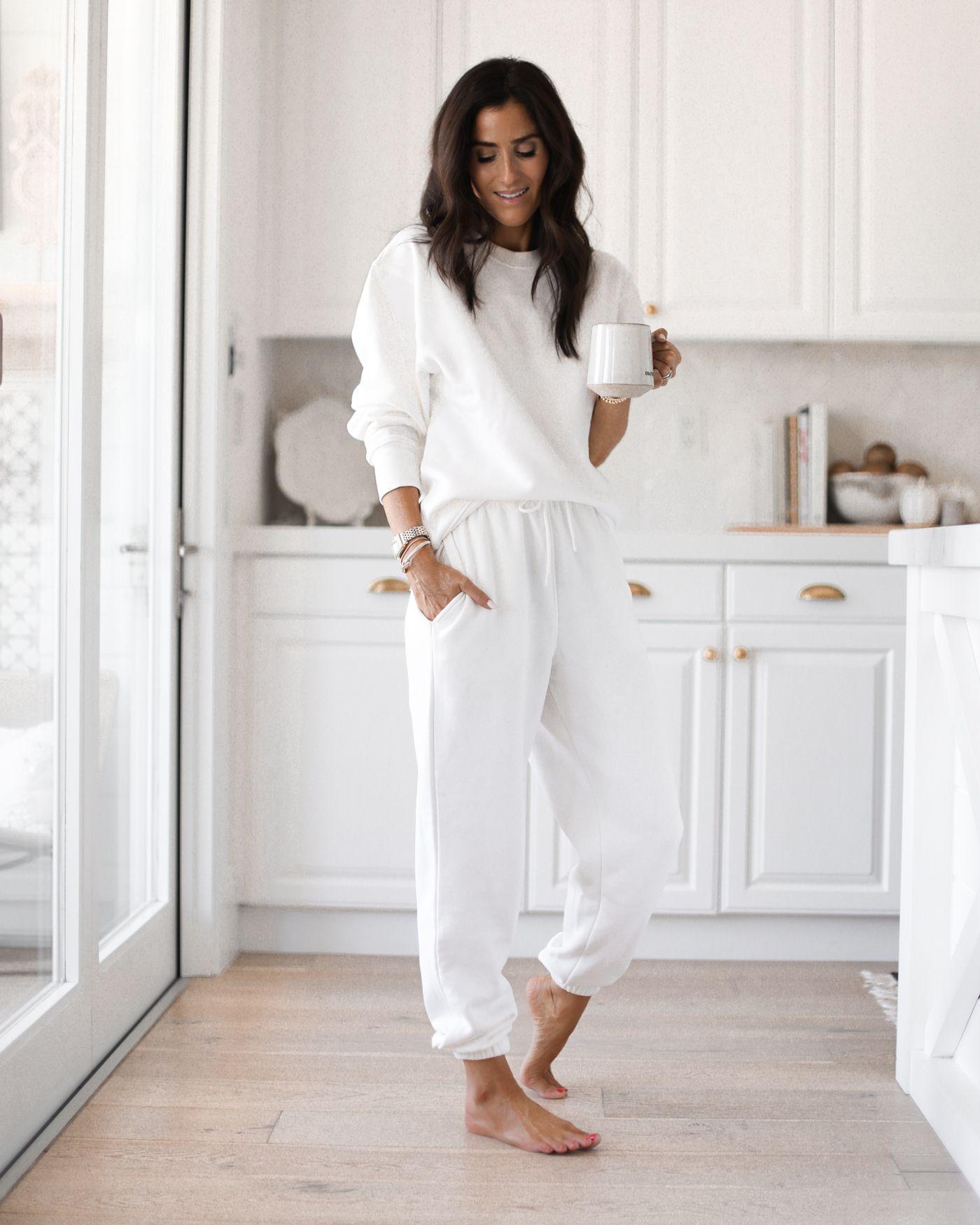All White Loungewear White Sweatshirt Outfit Fashion White Joggers Outfit [ 1750 x 1400 Pixel ]