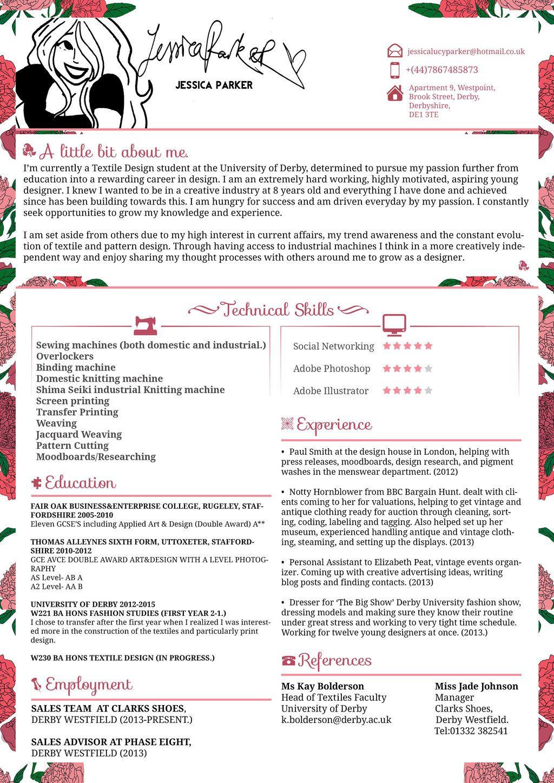 Creative Resume/CV Jessica Parker Fashion by
