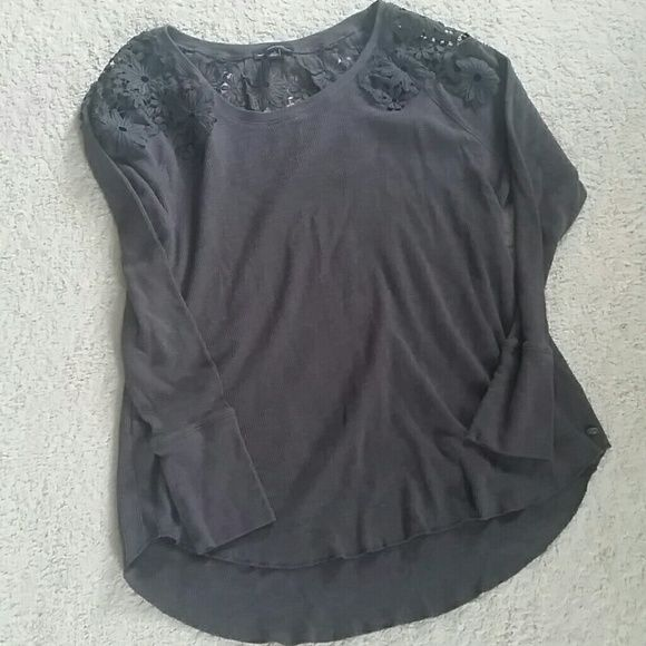 AE Thermal with Lace Detail Super cute and femine! This has been worn maybe 3 times. It fits loosely and the back is slightly longer than the front. The lace adds such a cute touch! American Eagle Outfitters Tops Tees - Long Sleeve