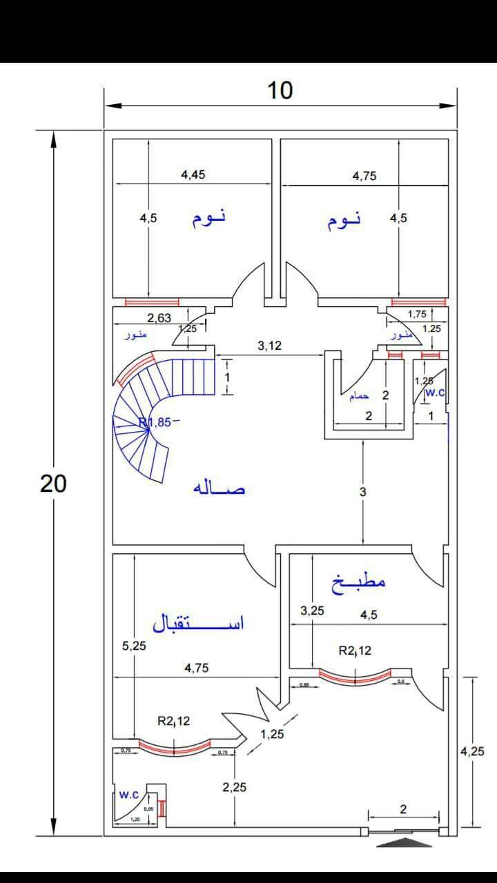 مخطط منزل مساحة الأرض 200 متر مربع 10 20 متر Planned Home Land Of 200 Square Meters Area Of 10 20 Meters Square House Plans My House Plans 3d House Plans
