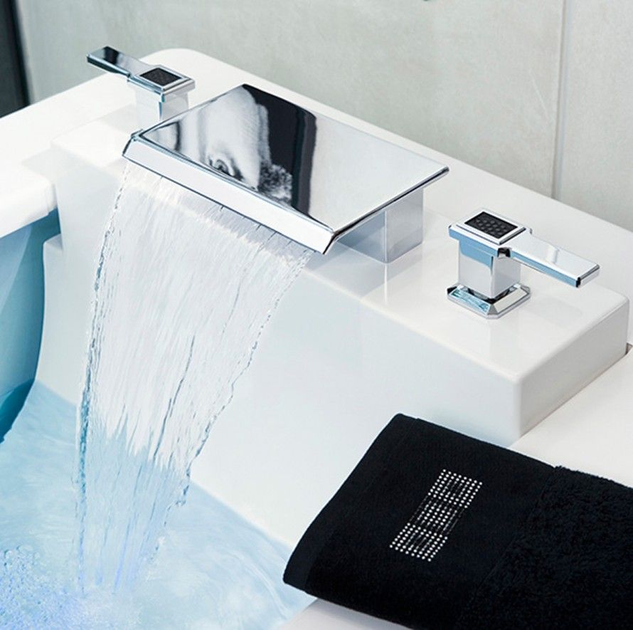 modern bathroom designs%0A Waterfall Faucet Design For Modern Bathroom Style