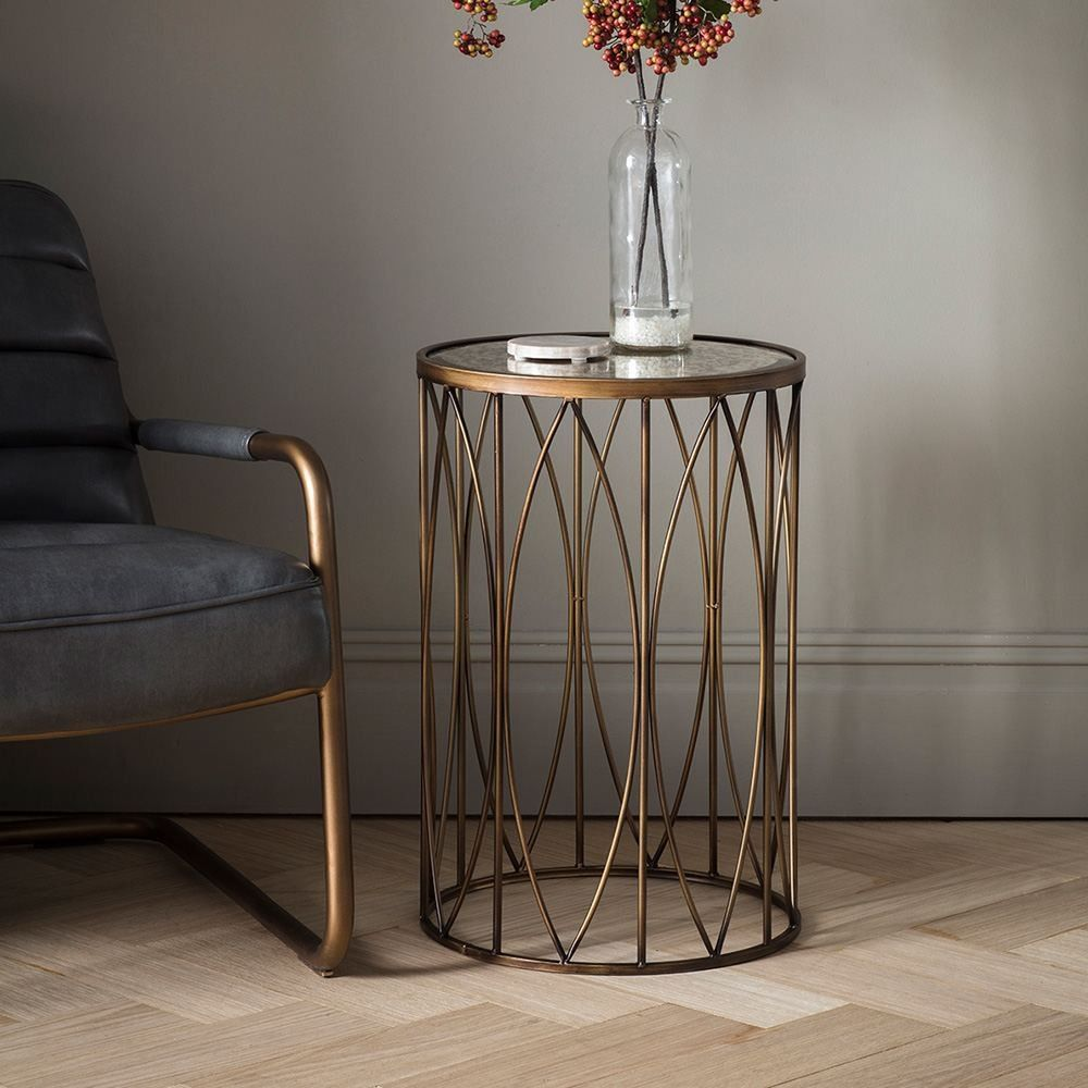 Houseology Collection Moorland Side Table Antique Glass Bronze