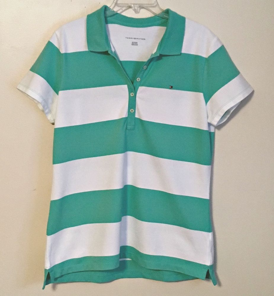 8b25be2cb Tommy Hilfiger NEW Rugby Striped Polo Shirt Knit Top Mint Green White XL  X-Large  TommyHilfiger  PoloShirt  Casual