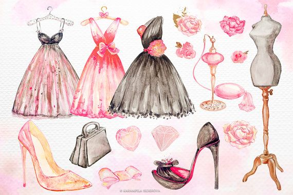 Fashion Clipart Watercolor Floral Illustration French