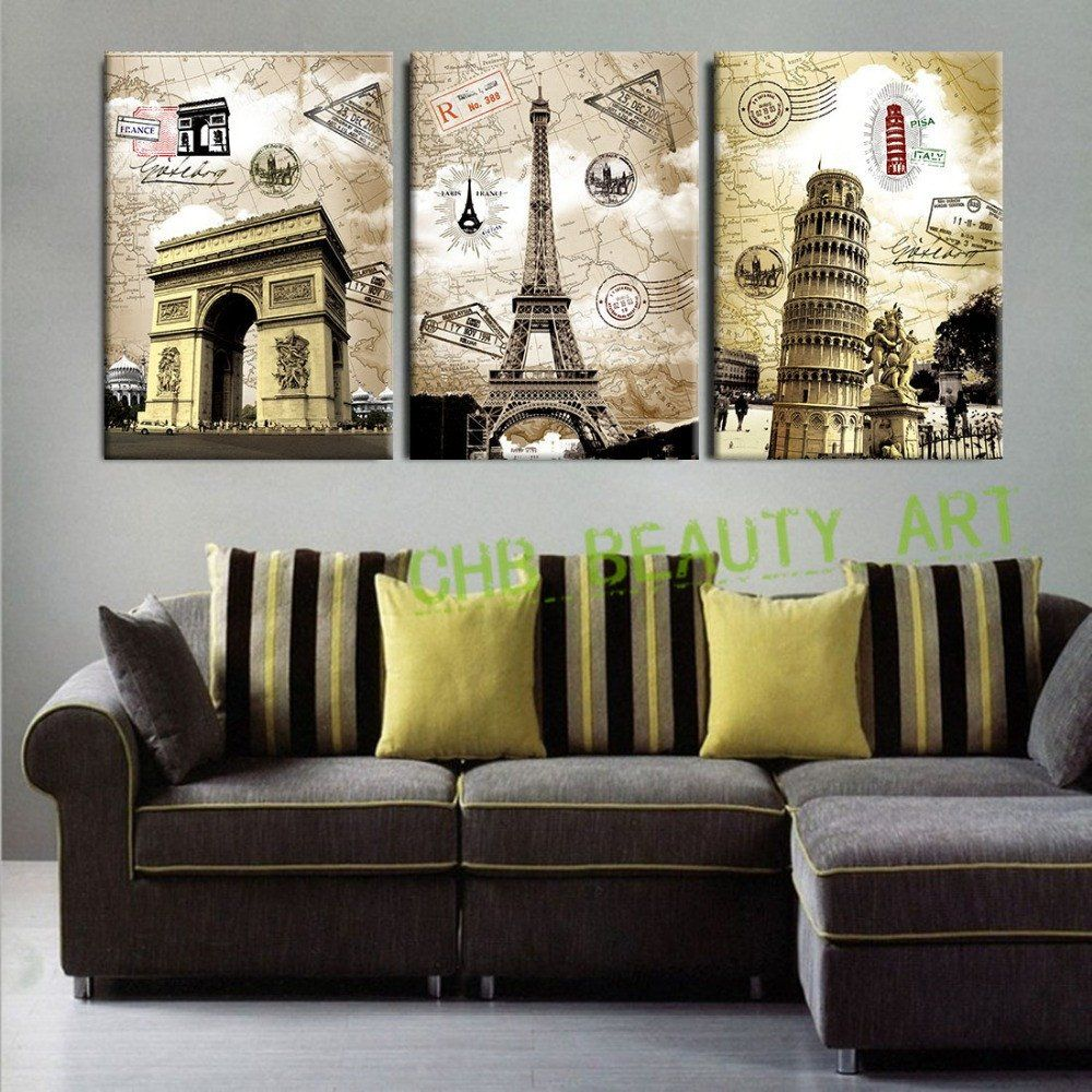 Paintings In Living Room 3 Panel Canvas Paintings Art European Paris Italy Tower Wall