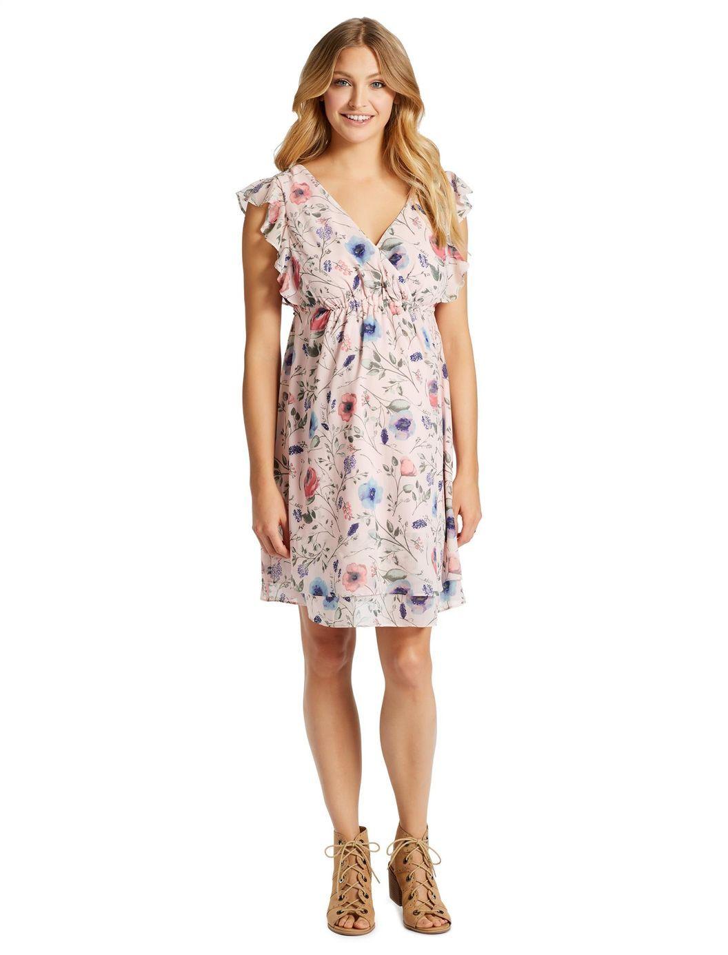 81bdbca3addf3 Jessica Simpson Ruffle Front Maternity Dress