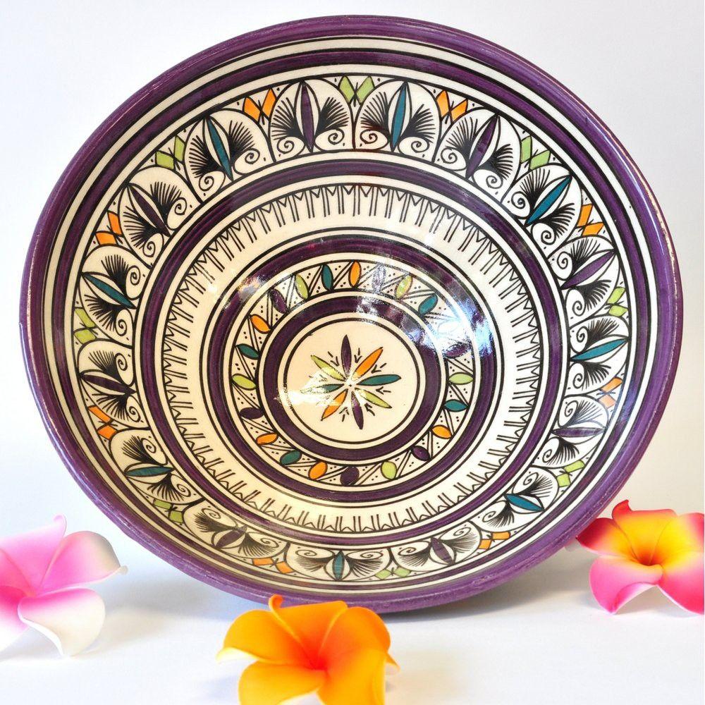 Schale Obst Keramik Wandteller Marokko weiß violett...