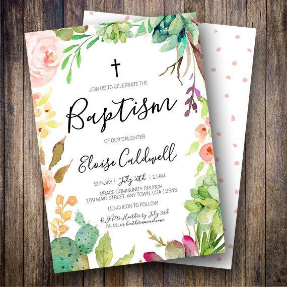Succulent Baptism Invitation Floral Invite Cactus