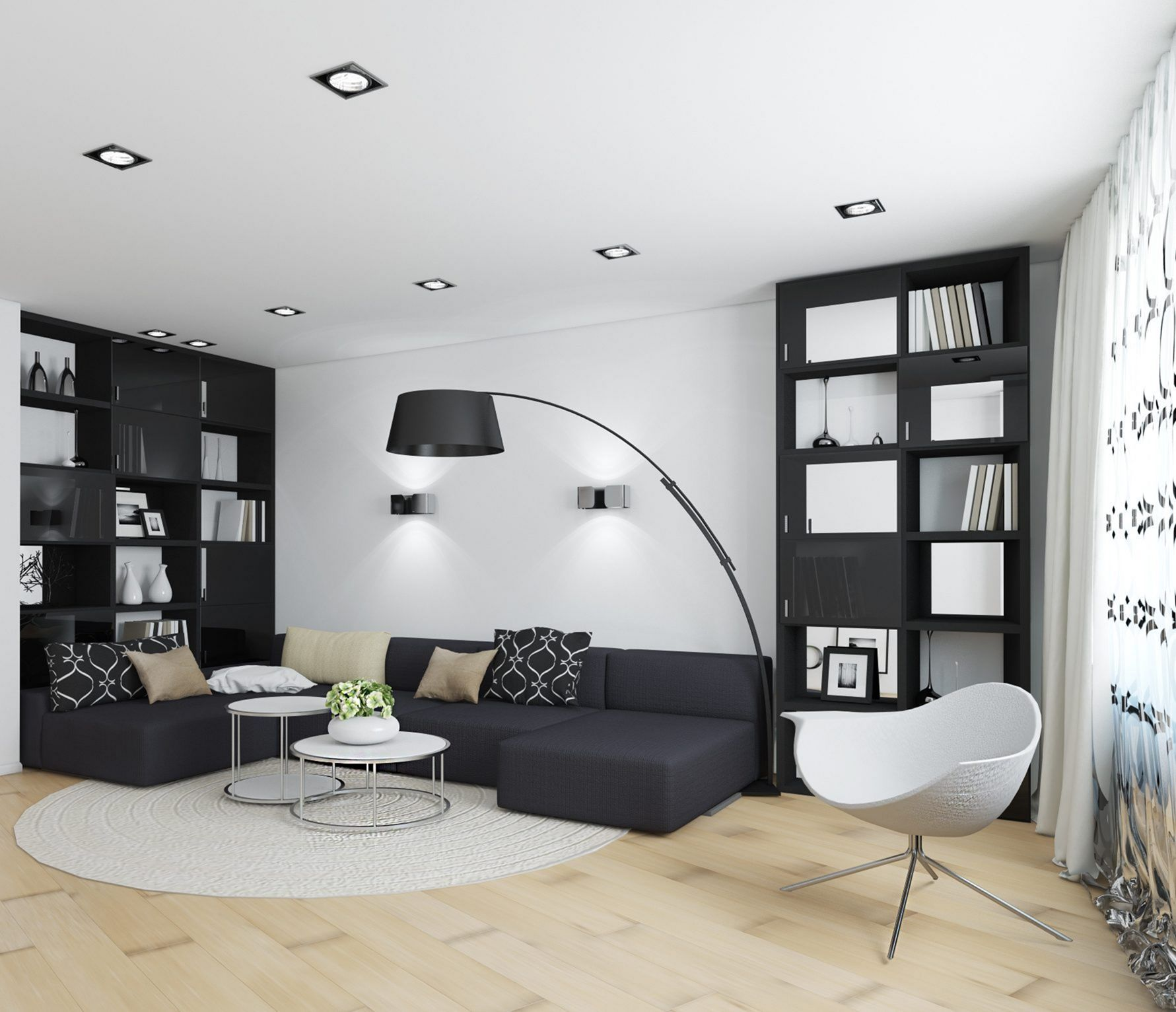 30 Black White Living Rooms That Work Their Monochrome Magic: 25 Amazing Black And White Interior Ideas For Dream Home