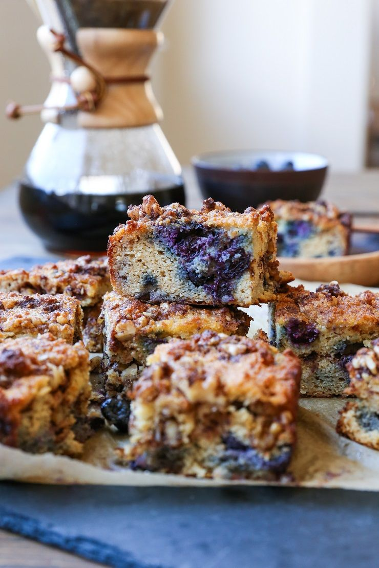 Moist, fluffy, cinnamony paleo blueberry coffee cake made