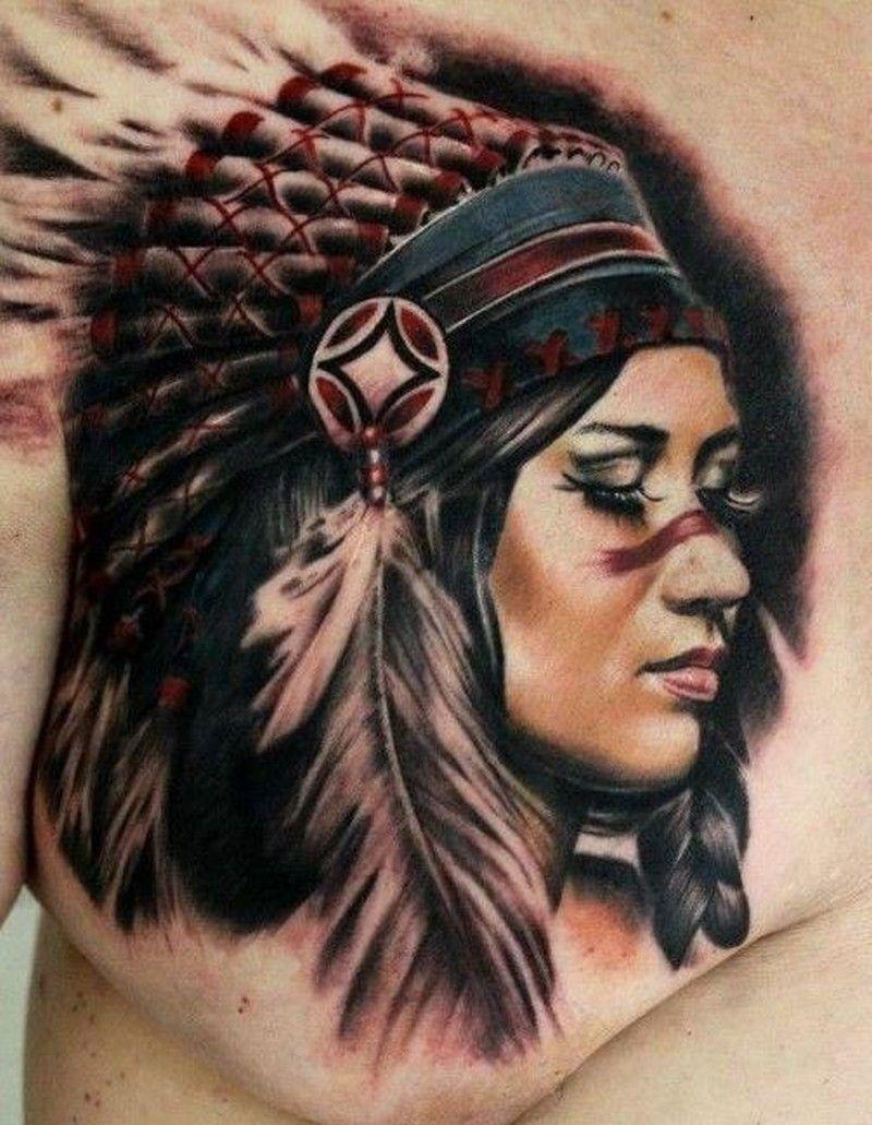 0a20ba6c85c46 native american girl tattoo on chest by Moni Marino - Tattoos Book ...