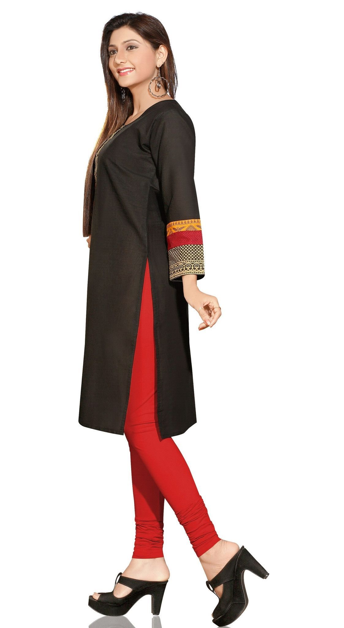 Black Cotton 3/4th Sleeves Kurti with beautifully designed neck