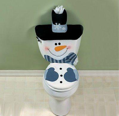 Snowman Toilet Cover SET Christmas Winter Bathroom Decor Seasonal ...