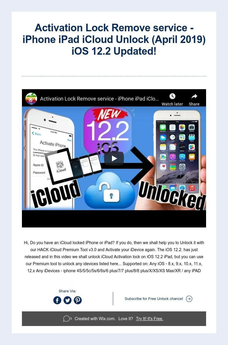 Activation Lock Remove service - iPhone iPad iCloud Unlock (April 2019) iOS 12.2 Updated! | Iphone hacks. Iphone 4s. Iphone