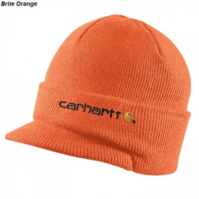 31a3a99477e Carhartt Winter Hat with Visor - Bright Orange.  Carhartt logo embroidered  on front.