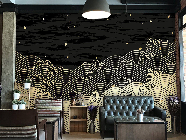 Waves Drawing Wallpaper Japanese Design Home Decorwall Etsy Wallpaper Walls Decor Waves Wallpaper Wall Murals Diy