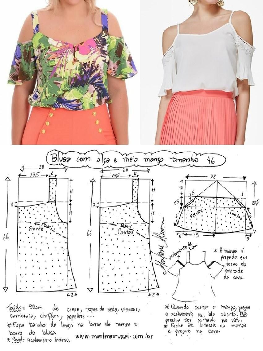 Blusa com alça e meia manga | Costura, Blusas y Molde