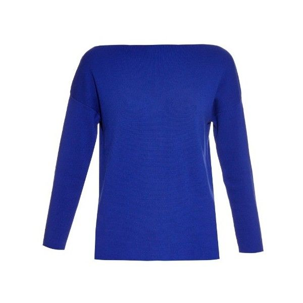 Weekend Max Mara Rumena sweater (€255) ❤ liked on Polyvore featuring tops, sweaters, blue, boat neck tops, blue sweater, boat neck sweater, bateau neck sweater and drop-shoulder tops