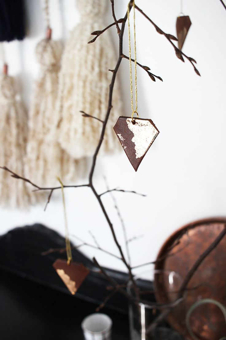 DIY leather Christmas ornaments that are easy to make, gold foiled, and awesome. Perfect for your handmade holiday decor.