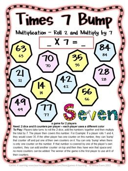 Multiplication Games 27 Multiplication Facts Bump Games | Learning ...