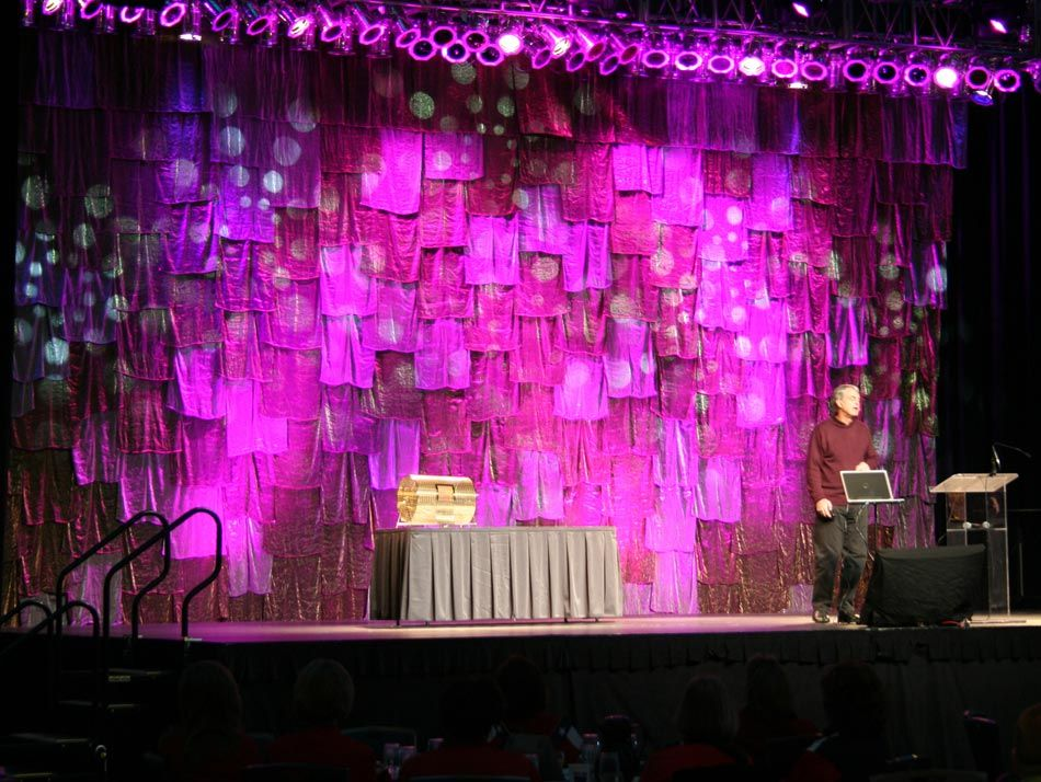Patchwork stage backdrop interesting texture fun decor for Backdrop decoration for church