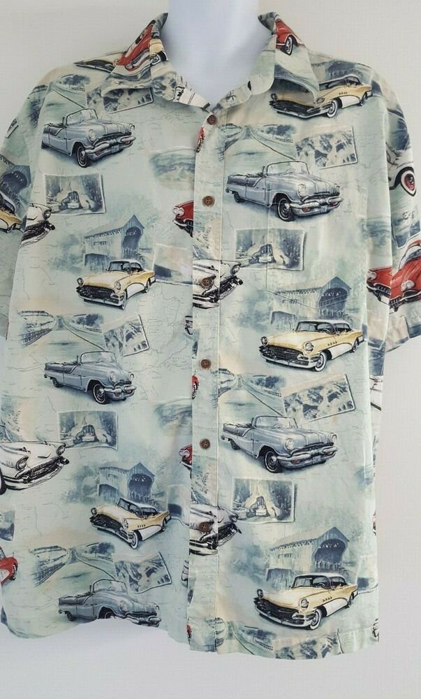 North River Shirt Mens Sz XXL Blue Classic Cars Short Sleeve Front Button 1111 #…