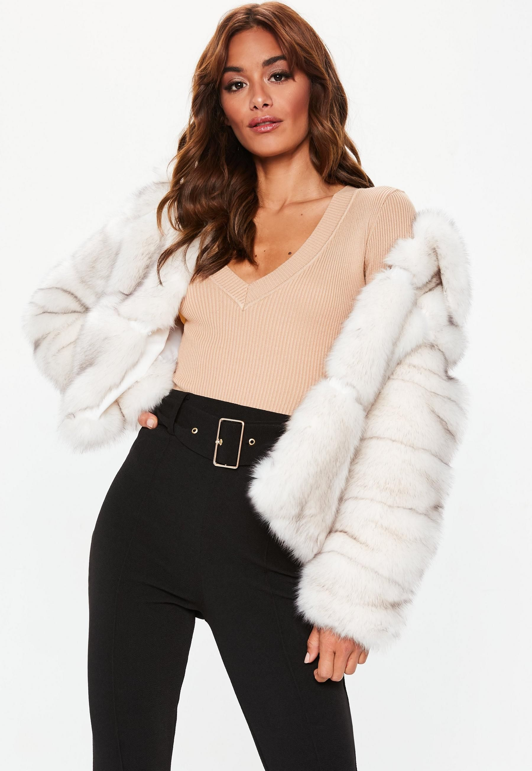 fa385f4af White Premium Cropped Faux Fur Jacket | Missguided | Wedding Dresses ...