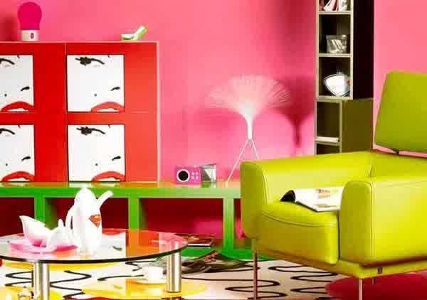 Creative Idea:Neon Room With Yellow Sofa Also Round Glass Coffee ...