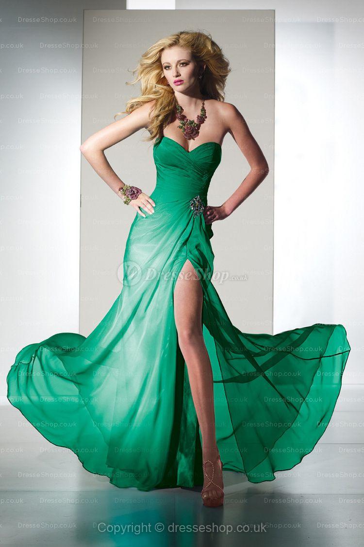 sheath column sweetheart chiffon floor length green formal dress