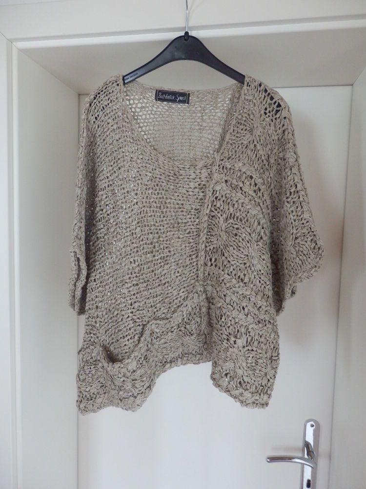 Barbara Speer - TRAUM Pullover, beige, kurz, weit, Lagenlook, Gr. 46 ...