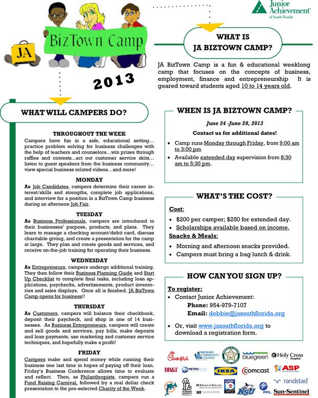 Register Today For Ja Biztown Summer Camp Held At Ja Biztown In Ja World Huizenga Center At Broward College Junior Achievement Broward College Summer Camp