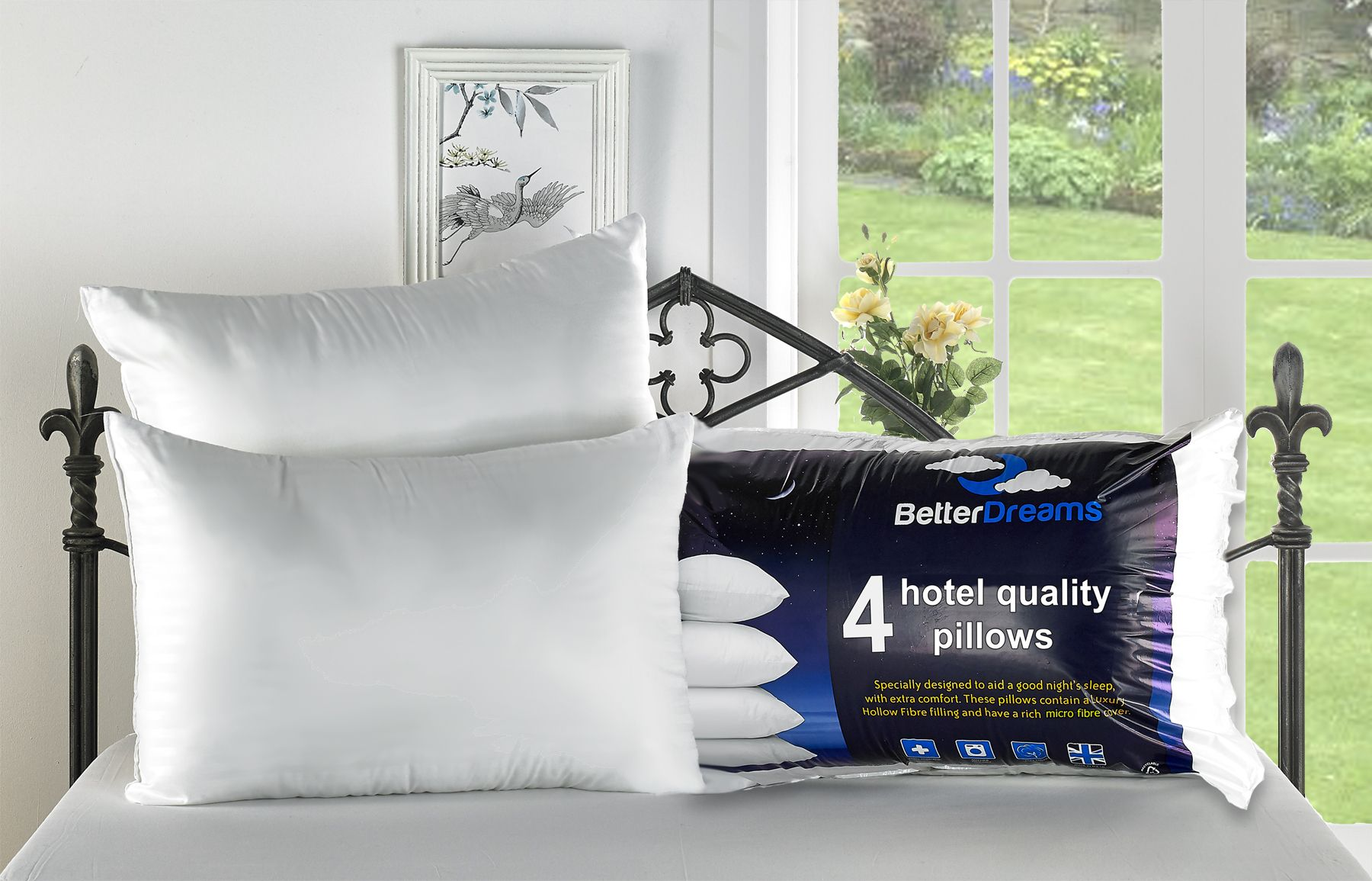 Egyptian Box Pillow High Quality Hollow Fibre Filling Comfort Cotton Pack of 3