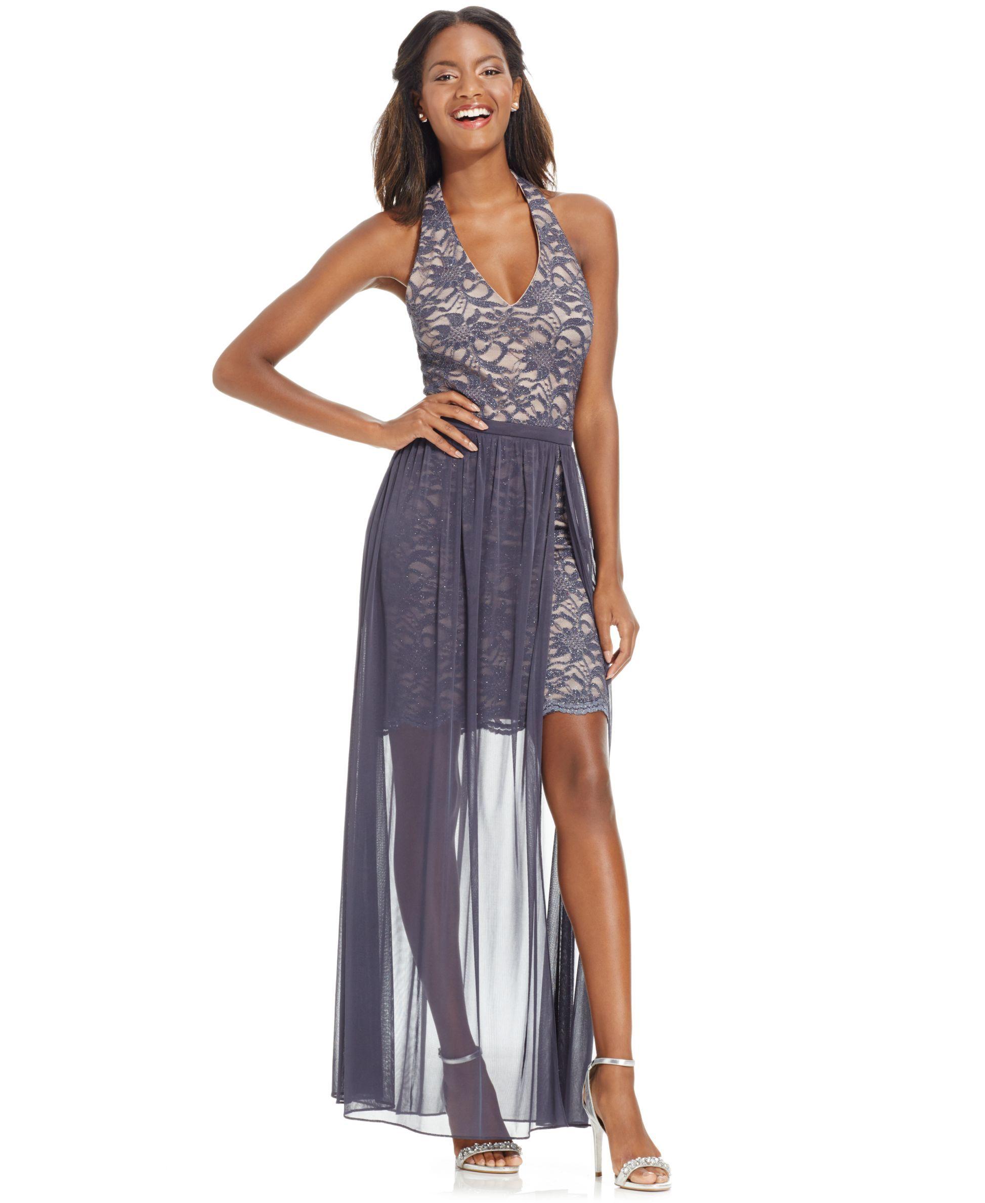 Morgan & Company Juniors\' Glitter Lace Sheer-Overlay Halter Dress ...