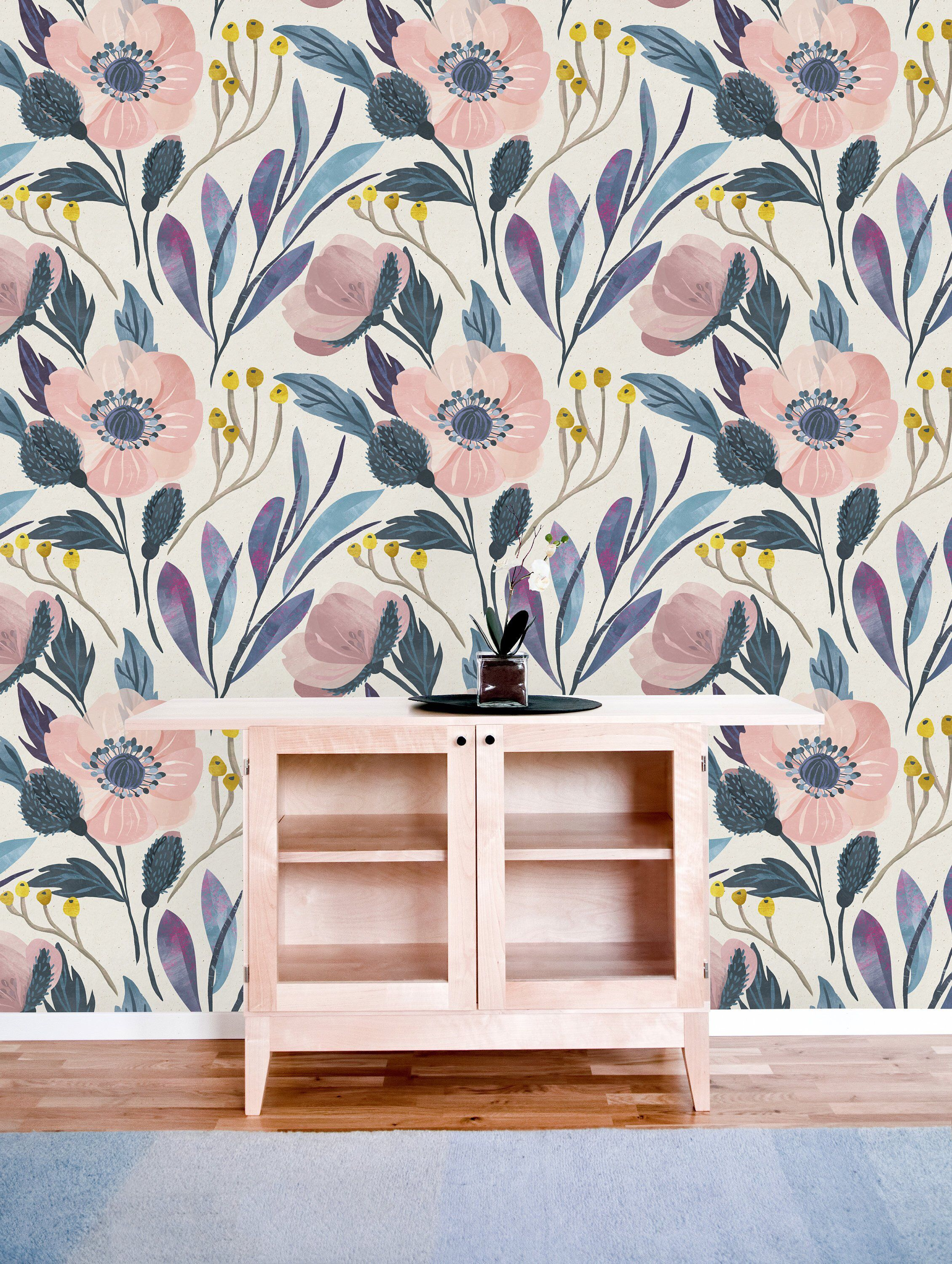 Vintage Pink Flowers Removable WallpaperPeel and Stick