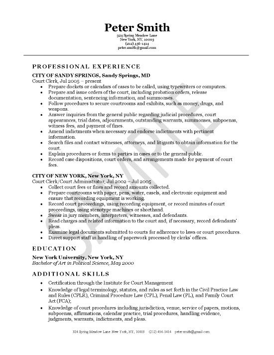 Court Clerk Resume Example Resume Examples Pinterest Resume