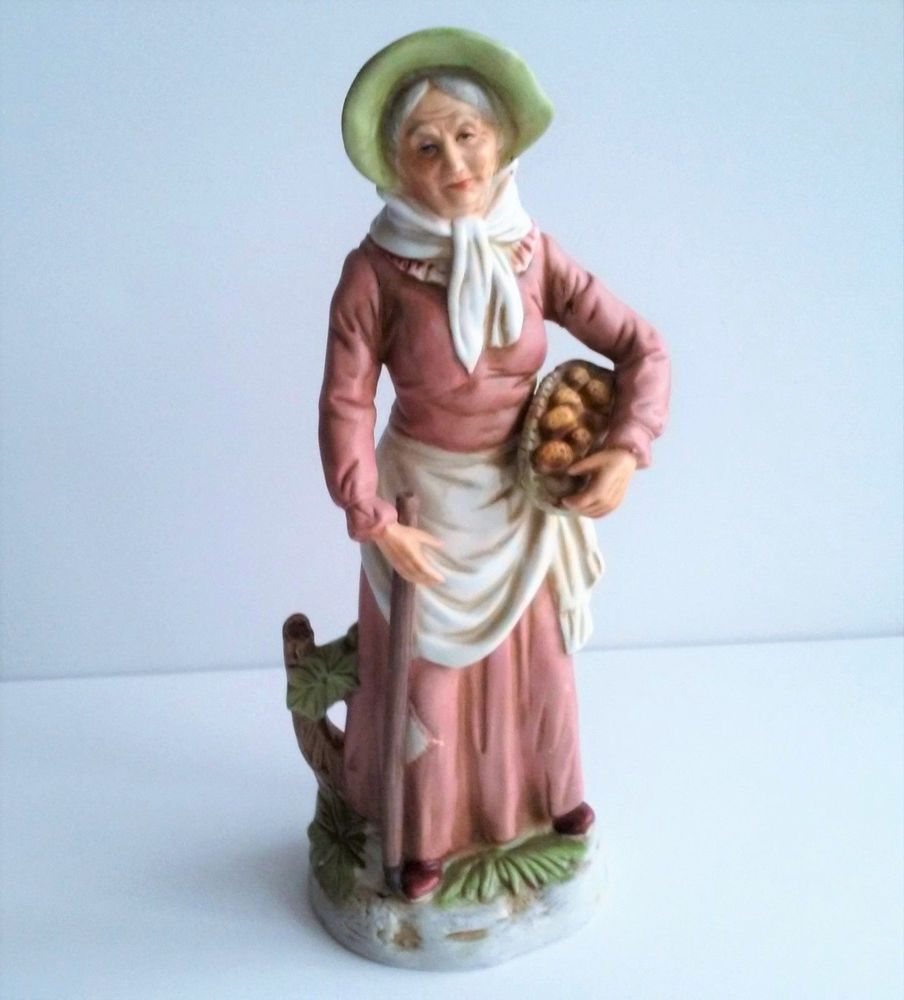 Home interior masterpiece figurines farm lady with potatoes by homco