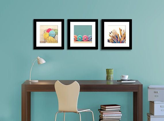 craft print set, craft room decor, crafts, home decor, 10x10 prints, set of 3 prints, fine art photography, yarn, spool, pain brushes