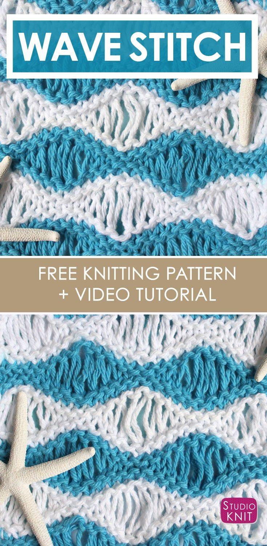How to Knit the Sea Foam Wave Drop Knit Stitch Pattern | Pinterest ...