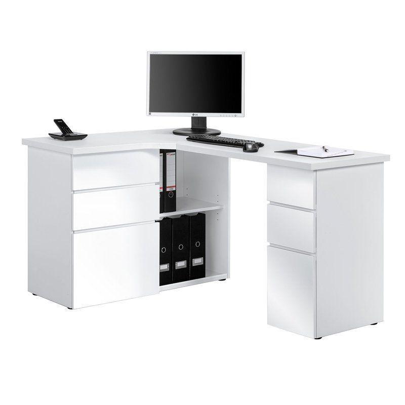 Office Corner Writing Desk Glossy White L Shape Design With Shelves Furniture Corner Writing Desk White Corner Computer Desk Desk
