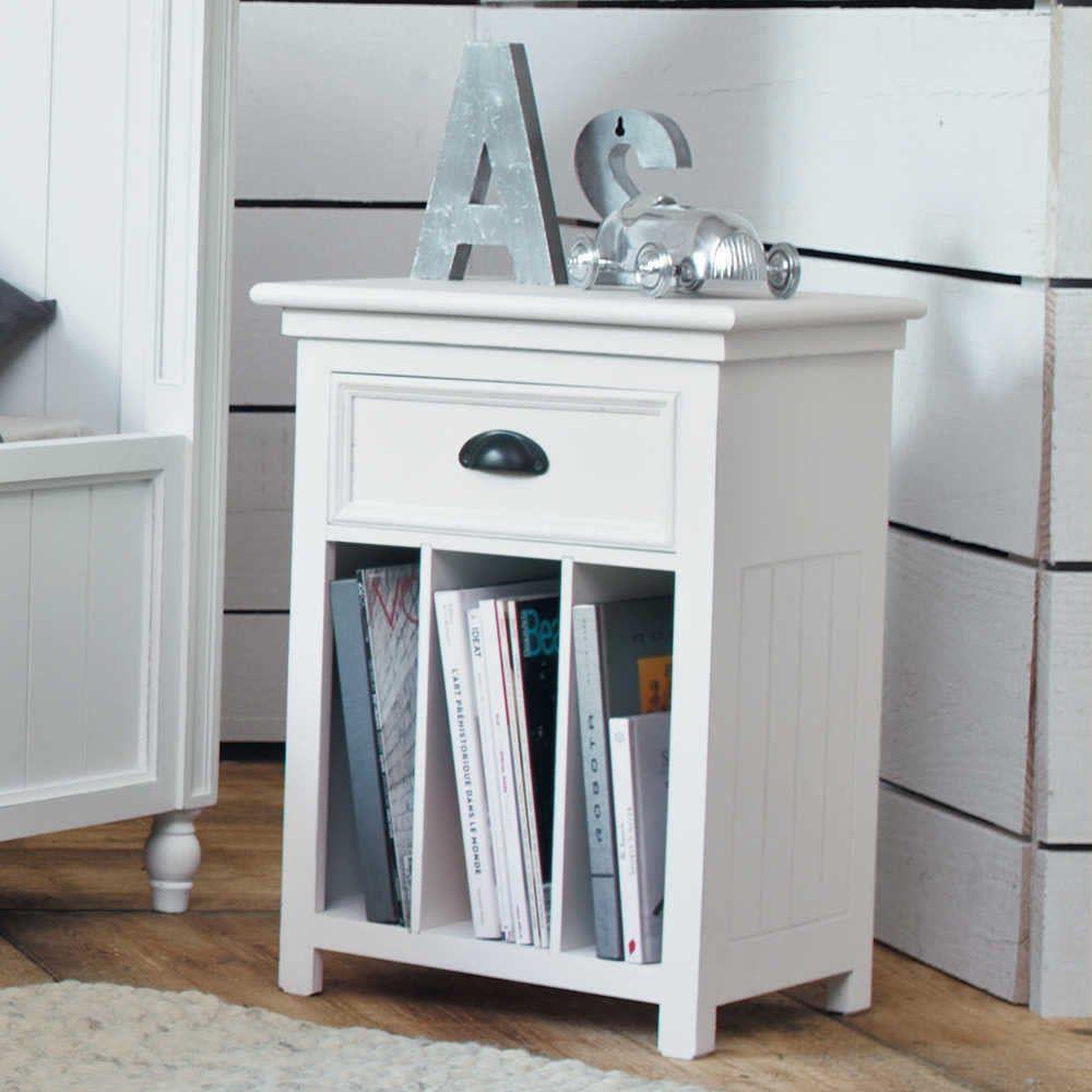 Nachttisch aus Holz mit Schublade, B 45 cm, weiß | Recycelte ...