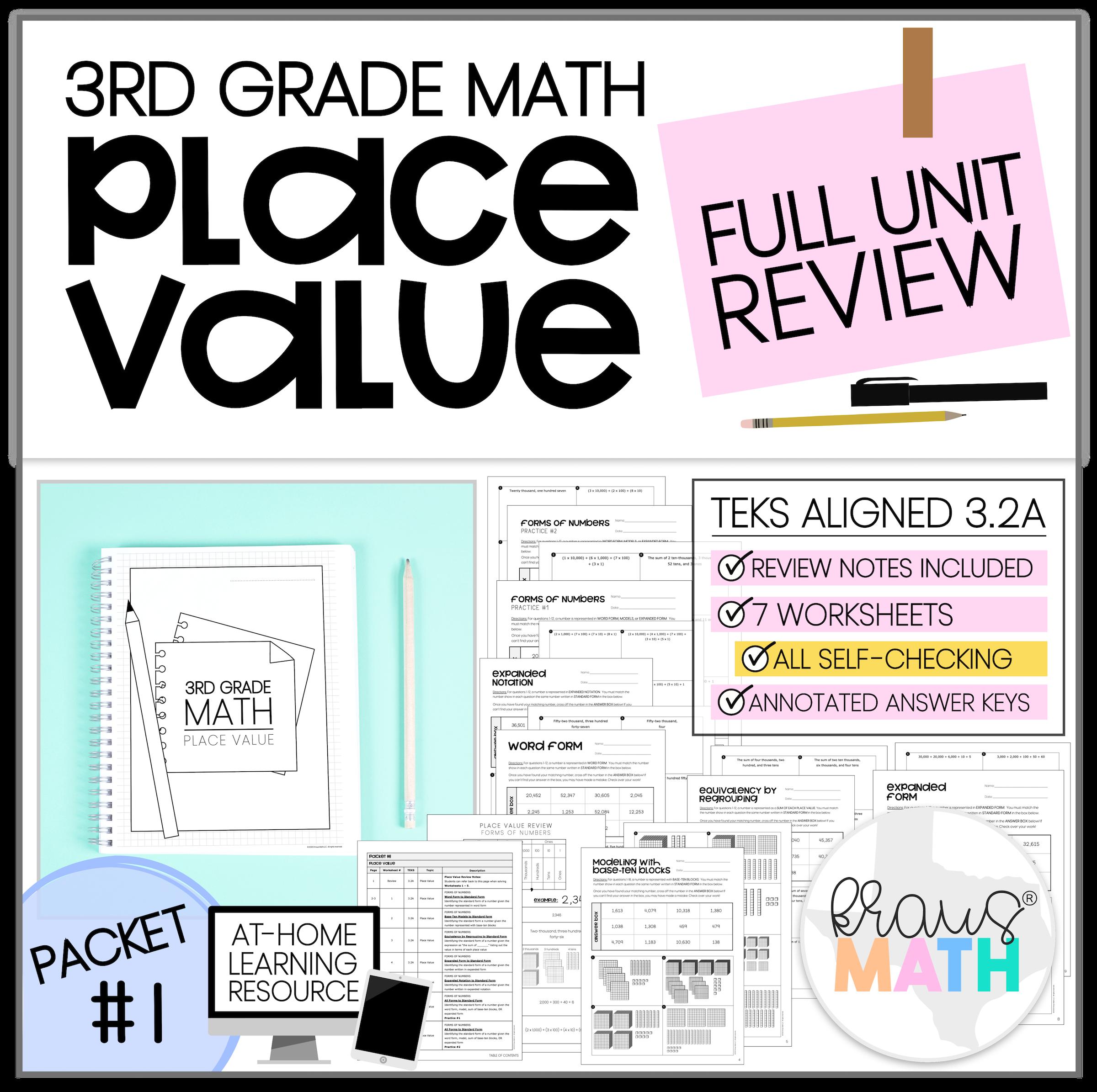 3rd Grade Math Packet 1