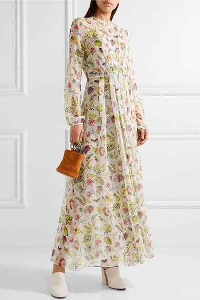 6d4d015d555 Adam Lippes - Pleated Floral-print Silk-chiffon Maxi Dress - Ivory ...