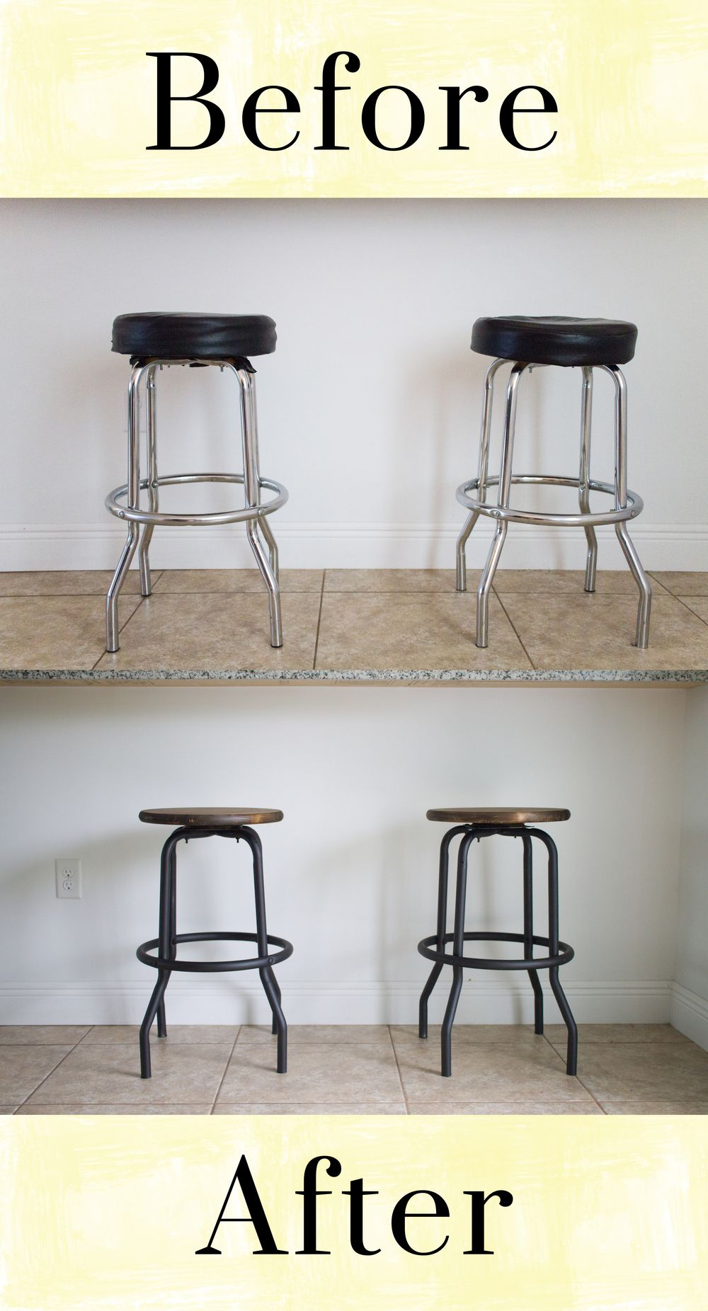 Outdated to Industrial Barstool Makeover DIY. Love this upcycle of old barstools with a rustic wooden seat refinish. Great idea for kitchen or dinette. ...  sc 1 st  Pinterest & Outdated to Industrial Barstool Makeover DIY u2026 | Pinteresu2026 islam-shia.org