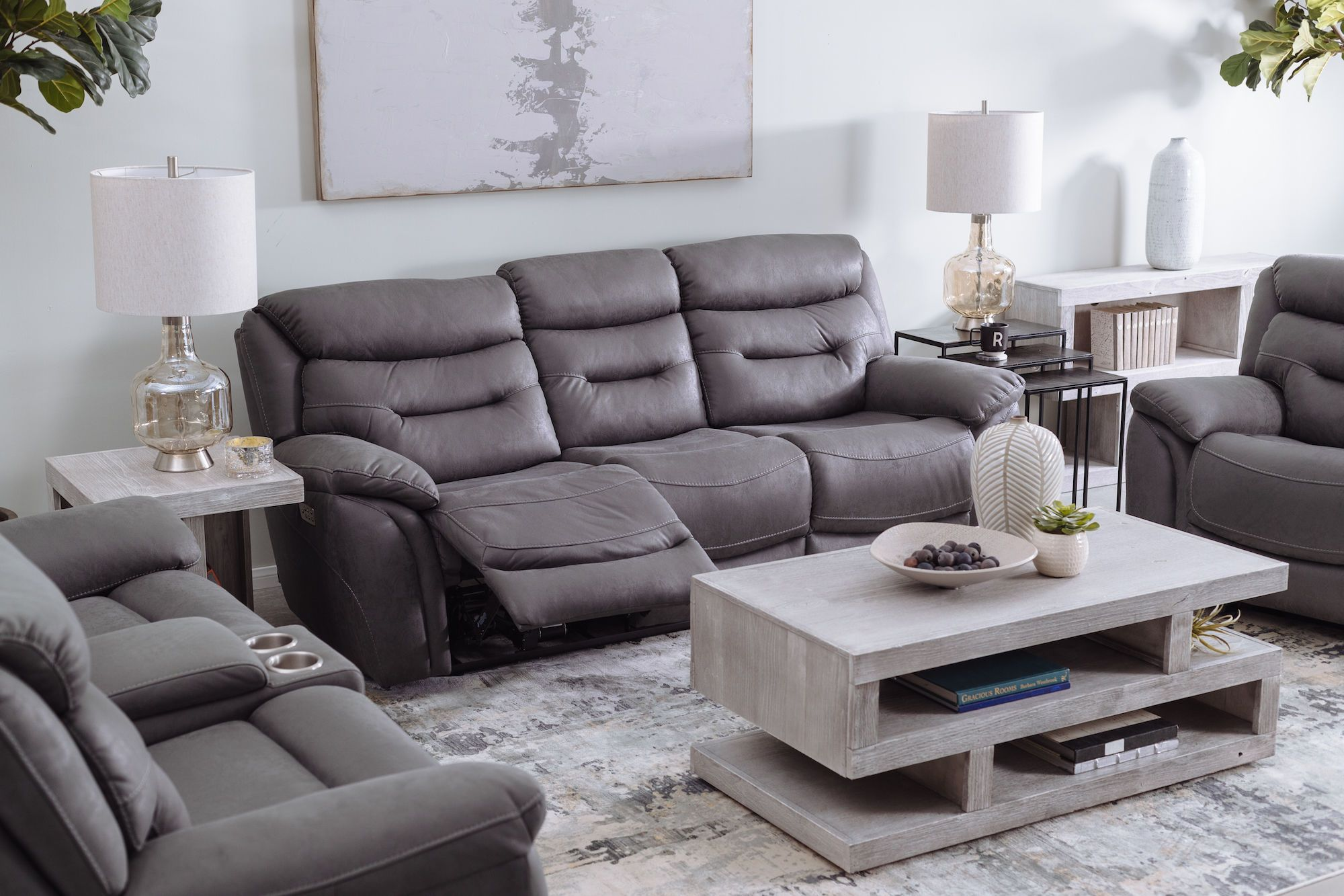 Casual 90 Power Reclining Sofa In Gray Living Room Furniture