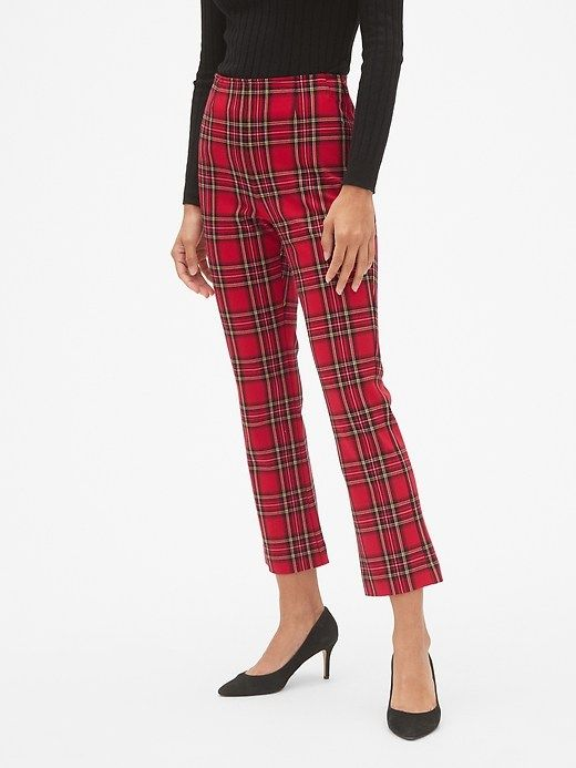 e57890920bbf2a Gap Womens Plaid High Rise Crop Flare Pants Red Tartan | Products in ...